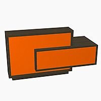 Foro Modern Design Reception Desk With High Gloss Orange Front and Chestnut Carcass & Left Low Level Section W2100mmxD800mmxH1100mm