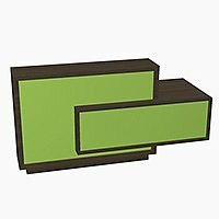 Foro Modern Design Reception Desk With High Gloss Vibrant Green Front and Chestnut Carcass & Left Low Level Section W2100mmxD800mmxH1100mm