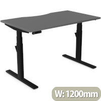LEAP Electric Height Adjustable Rectangular Sit Stand Desk Dual Purpose Reversible Scallop Top W1200xD700xH620-1270mm Graphite Top Black Frame. Prevents & Reduces Muscle & Back Problems, Heart Risks & Increases Brain Activity.