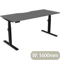 LEAP Electric Height Adjustable Rectangular Sit Stand Desk Dual Purpose Reversible Scallop Top W1600xD700xH620-1270mm Graphite Top Black Frame. Prevents & Reduces Muscle & Back Problems, Heart Risks & Increases Brain Activity.