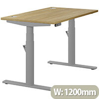 LEAP Electric Height Adjustable Rectangular Sit Stand Desk Portal Top W1200xD700xH620-1270mm Urban Oak Top Silver Frame. Prevents & Reduces Muscle & Back Problems, Heart Risks & Increases Brain Activity.