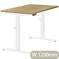 LEAP Electric Height Adjustable Rectangular Sit Stand Desk Portal Top W1200xD700xH620-1270mm Urban Oak Top White Frame. Prevents & Reduces Muscle & Back Problems, Heart Risks & Increases Brain Activity.
