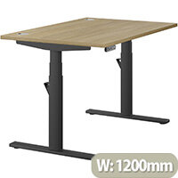 LEAP Electric Height Adjustable Rectangular Sit Stand Desk Portal Top W1200xD800xH620-1270mm Urban Oak Top Black Frame. Prevents & Reduces Muscle & Back Problems, Heart Risks & Increases Brain Activity.