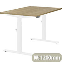 LEAP Electric Height Adjustable Rectangular Sit Stand Desk Portal Top W1200xD800xH620-1270mm Urban Oak Top White Frame. Prevents & Reduces Muscle & Back Problems, Heart Risks & Increases Brain Activity.
