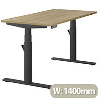 LEAP Electric Height Adjustable Rectangular Sit Stand Desk Portal Top W1400xD700xH620-1270mm Urban Oak Top Black Frame. Prevents & Reduces Muscle & Back Problems, Heart Risks & Increases Brain Activity.