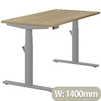 LEAP Electric Height Adjustable Rectangular Sit Stand Desk Portal Top W1400xD700xH620-1270mm Urban Oak Top Silver Frame. Prevents & Reduces Muscle & Back Problems, Heart Risks & Increases Brain Activity.