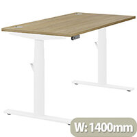 LEAP Electric Height Adjustable Rectangular Sit Stand Desk Portal Top W1400xD700xH620-1270mm Urban Oak Top White Frame. Prevents & Reduces Muscle & Back Problems, Heart Risks & Increases Brain Activity.