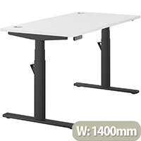 LEAP Electric Height Adjustable Rectangular Sit Stand Desk Portal Top W1400xD700xH620-1270mm White Top Black Frame. Prevents & Reduces Muscle & Back Problems, Heart Risks & Increases Brain Activity.