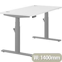 LEAP Electric Height Adjustable Rectangular Sit Stand Desk Portal Top W1400xD700xH620-1270mm White Top Silver Frame. Prevents & Reduces Muscle & Back Problems, Heart Risks & Increases Brain Activity.
