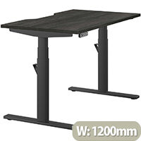 LEAP Electric Height Adjustable Rectangular Sit Stand Desk Dual Purpose Reversible Scallop Top W1200xD700xH620-1270mm Harbour Oak Top Black Frame. Prevents & Reduces Muscle & Back Problems, Heart Risks & Increases Brain Activity.