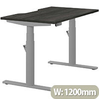 LEAP Electric Height Adjustable Rectangular Sit Stand Desk Dual Purpose Reversible Scallop Top W1200xD700xH620-1270mm Harbour Oak Top Silver Frame. Prevents & Reduces Muscle & Back Problems, Heart Risks & Increases Brain Activity.