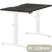 LEAP Electric Height Adjustable Rectangular Sit Stand Desk Dual Purpose Reversible Scallop Top W1200xD700xH620-1270mm Harbour Oak Top White Frame. Prevents & Reduces Muscle & Back Problems, Heart Risks & Increases Brain Activity.