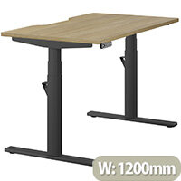 LEAP Electric Height Adjustable Rectangular Sit Stand Desk Dual Purpose Reversible Scallop Top W1200xD700xH620-1270mm Urban Oak Top Black Frame. Prevents & Reduces Muscle & Back Problems, Heart Risks & Increases Brain Activity.
