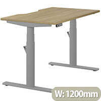 LEAP Electric Height Adjustable Rectangular Sit Stand Desk Dual Purpose Reversible Scallop Top W1200xD700xH620-1270mm Urban Oak Top Silver Frame. Prevents & Reduces Muscle & Back Problems, Heart Risks & Increases Brain Activity.