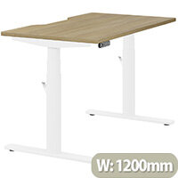LEAP Electric Height Adjustable Rectangular Sit Stand Desk Dual Purpose Reversible Scallop Top W1200xD700xH620-1270mm Urban Oak Top White Frame. Prevents & Reduces Muscle & Back Problems, Heart Risks & Increases Brain Activity.