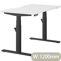 LEAP Electric Height Adjustable Rectangular Sit Stand Desk Dual Purpose Reversible Scallop Top W1200xD700xH620-1270mm White Top Black Frame. Prevents & Reduces Muscle & Back Problems, Heart Risks & Increases Brain Activity.