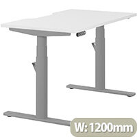 LEAP Electric Height Adjustable Rectangular Sit Stand Desk Dual Purpose Reversible Scallop Top W1200xD700xH620-1270mm White Top Silver Frame. Prevents & Reduces Muscle & Back Problems, Heart Risks & Increases Brain Activity.