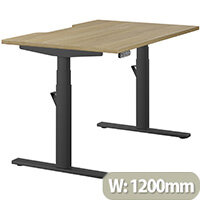 LEAP Electric Height Adjustable Rectangular Sit Stand Desk Dual Purpose Reversible Scallop Top W1200xD800xH620-1270mm Urban Oak Top Black Frame. Prevents & Reduces Muscle & Back Problems, Heart Risks & Increases Brain Activity.