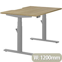 LEAP Electric Height Adjustable Rectangular Sit Stand Desk Dual Purpose Reversible Scallop Top W1200xD800xH620-1270mm Urban Oak Top Silver Frame. Prevents & Reduces Muscle & Back Problems, Heart Risks & Increases Brain Activity.