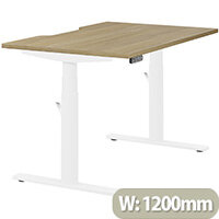 LEAP Electric Height Adjustable Rectangular Sit Stand Desk Dual Purpose Reversible Scallop Top W1200xD800xH620-1270mm Urban Oak Top White Frame. Prevents & Reduces Muscle & Back Problems, Heart Risks & Increases Brain Activity.