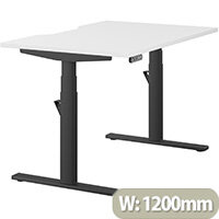 LEAP Electric Height Adjustable Rectangular Sit Stand Desk Dual Purpose Reversible Scallop Top W1200xD800xH620-1270mm White Top Black Frame. Prevents & Reduces Muscle & Back Problems, Heart Risks & Increases Brain Activity.