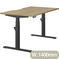 LEAP Electric Height Adjustable Rectangular Sit Stand Desk Dual Purpose Reversible Scallop Top W1400xD800xH620-1270mm Urban Oak Top Black Frame. Prevents & Reduces Muscle & Back Problems, Heart Risks & Increases Brain Activity.