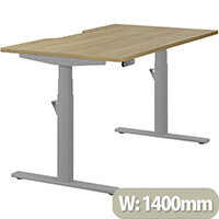 LEAP Electric Height Adjustable Rectangular Sit Stand Desk Dual Purpose Reversible Scallop Top W1400xD800xH620-1270mm Urban Oak Top Silver Frame. Prevents & Reduces Muscle & Back Problems, Heart Risks & Increases Brain Activity.