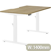 LEAP Electric Height Adjustable Rectangular Sit Stand Desk Dual Purpose Reversible Scallop Top W1400xD800xH620-1270mm Urban Oak Top White Frame. Prevents & Reduces Muscle & Back Problems, Heart Risks & Increases Brain Activity.