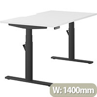 LEAP Electric Height Adjustable Rectangular Sit Stand Desk Dual Purpose Reversible Scallop Top W1400xD800xH620-1270mm White Top Black Frame. Prevents & Reduces Muscle & Back Problems, Heart Risks & Increases Brain Activity.