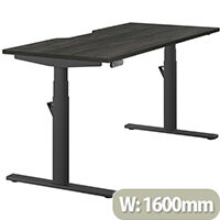 LEAP Electric Height Adjustable Rectangular Sit Stand Desk Dual Purpose Reversible Scallop Top W1600xD700xH620-1270mm Harbour Oak Top Black Frame. Prevents & Reduces Muscle & Back Problems, Heart Risks & Increases Brain Activity.