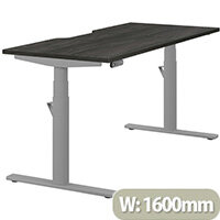LEAP Electric Height Adjustable Rectangular Sit Stand Desk Dual Purpose Reversible Scallop Top W1600xD700xH620-1270mm Harbour Oak Top Silver Frame. Prevents & Reduces Muscle & Back Problems, Heart Risks & Increases Brain Activity.