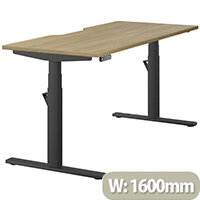 LEAP Electric Height Adjustable Rectangular Sit Stand Desk Dual Purpose Reversible Scallop Top W1600xD700xH620-1270mm Urban Oak Top Black Frame. Prevents & Reduces Muscle & Back Problems, Heart Risks & Increases Brain Activity.