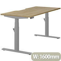 LEAP Electric Height Adjustable Rectangular Sit Stand Desk Dual Purpose Reversible Scallop Top W1600xD700xH620-1270mm Urban Oak Top Silver Frame. Prevents & Reduces Muscle & Back Problems, Heart Risks & Increases Brain Activity.