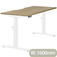LEAP Electric Height Adjustable Rectangular Sit Stand Desk Dual Purpose Reversible Scallop Top W1600xD700xH620-1270mm Urban Oak Top White Frame. Prevents & Reduces Muscle & Back Problems, Heart Risks & Increases Brain Activity.