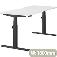 LEAP Electric Height Adjustable Rectangular Sit Stand Desk Dual Purpose Reversible Scallop Top W1600xD700xH620-1270mm White Top Black Frame. Prevents & Reduces Muscle & Back Problems, Heart Risks & Increases Brain Activity.