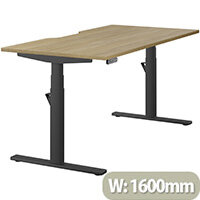LEAP Electric Height Adjustable Rectangular Sit Stand Desk Dual Purpose Reversible Scallop Top W1600xD800xH620-1270mm Urban Oak Top Black Frame. Prevents & Reduces Muscle & Back Problems, Heart Risks & Increases Brain Activity.