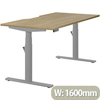LEAP Electric Height Adjustable Rectangular Sit Stand Desk Dual Purpose Reversible Scallop Top W1600xD800xH620-1270mm Urban Oak Top Silver Frame. Prevents & Reduces Muscle & Back Problems, Heart Risks & Increases Brain Activity.