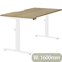 LEAP Electric Height Adjustable Rectangular Sit Stand Desk Dual Purpose Reversible Scallop Top W1600xD800xH620-1270mm Urban Oak Top White Frame. Prevents & Reduces Muscle & Back Problems, Heart Risks & Increases Brain Activity.