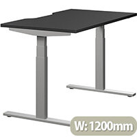 LEAP Electric Height Adjustable Rectangular Sit Stand Desk Dual Purpose Reversible Scallop Top W1200xD700xH620-1270mm Graphite Top Silver Frame. Prevents & Reduces Muscle & Back Problems, Heart Risks & Increases Brain Activity.