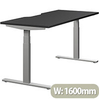 LEAP Electric Height Adjustable Rectangular Sit Stand Desk Dual Purpose Reversible Scallop Top W1600xD700xH620-1270mm Graphite Top Silver Frame. Prevents & Reduces Muscle & Back Problems, Heart Risks & Increases Brain Activity.