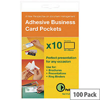 Pelltech Self-Adhesive Business Card Pocket 60x95mm Pack of 100 PLH10141