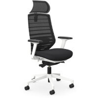 X.77 Office Operator Chair with Adjustable Lumbar Support & Headrest White Frame & Black Seat