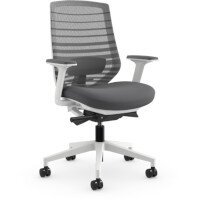 X.77 Office Operator Chair with Grey Mesh Back And Adjustable Lumbar Support White Frame
