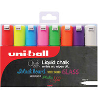Uniball PWE-8K Chalk Marker Chisel Broad Assorted Pack of 8 153494343