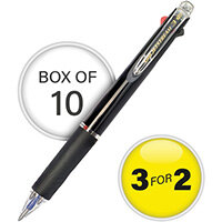 Uni-Ball Jetstream Black Barrel 3 Colour Pen Medium Pack of 10 3For2