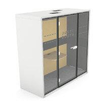 Just4You Booth With Ergonomic Table, Energy Saving Light & Motion Sense Air Ventilation White Shell & Lemon Upholstery 1000 x 900 x 2230mm