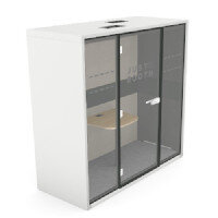 Just4You Booth With Ergonomic Table, Energy Saving Light & Motion Sense Air Ventilation White Shell & Rock Upholstery 1000 x 900 x 2230mm