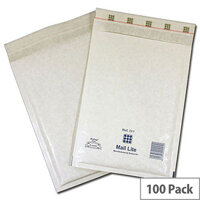 Mail Lite Bubble Lined Size D/1 180x260mm White Postal Bags Pack of 100