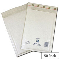 Mail Lite Bubble Lined Size G/4 240x330mm White Postal Bags Pack of 50