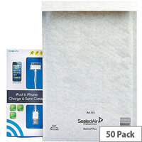 Mail Lite Plus Bubble Lined Size F/3 220x330mm Oyster White Postal Bags Pack of 50